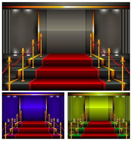 Color carpet and pedestal for rewarding ceremony, vector illustration. Illustration