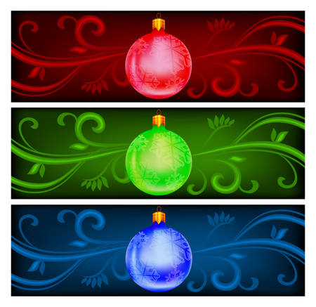 New Year's ball on color background, christmas vector illustration Stock Vector - 6126437
