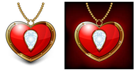 necklet: Jewelry red heart shaped necklace isolated on white background
