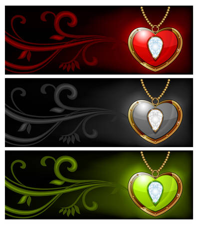 Jewelry heart shaped necklace isolated on dark color background Vector