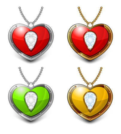 necklet: Jewelry color heart shaped necklace isolated on white background