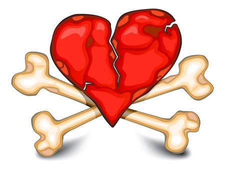 nulo: El coraz�n roto contra los huesos, s�mbolo ominosa terrible sobre blanco