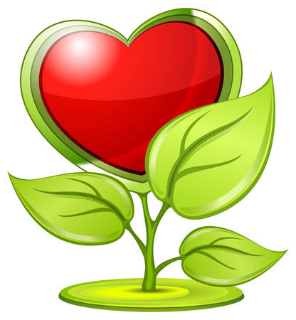 Green love symbol plant with red heart, beautiful valentine vector illustration Vector