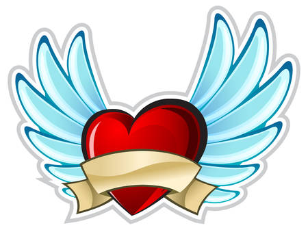 Red heart on white background, beautiful composition with wings Vector