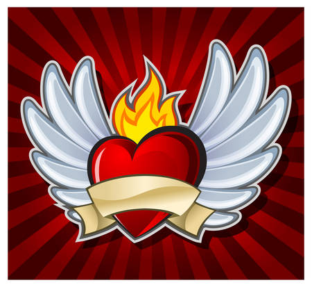 Fiery heart with wings on dark background, vector illustration