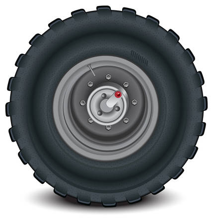 Car wheel in details on white background with shadow, vector, illustration Vector
