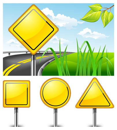 ignorance: Landscape with road sign against nature and highway, vector illustration