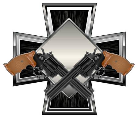 Two black guns against cross background, vector illustration Stock Vector - 6401503