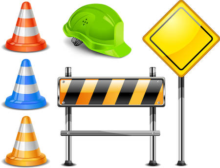 Road warning cone, sign for construction works and helmet isolated on white background  Stock Vector - 6449238