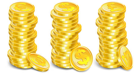 Stacks of gold coins with money symbol on white background, vector illustration Stock Vector - 6449241