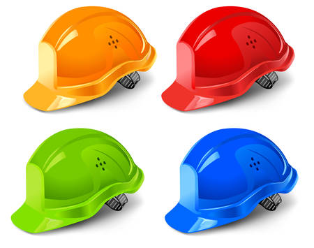 Multi-coloured helmets isolated on white background, vector illustration  Vector