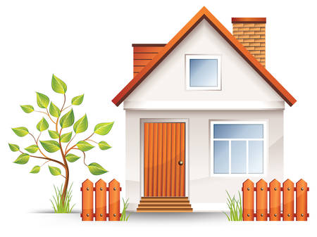 verdure: Small house with nice green court yard and fence, vector illustration