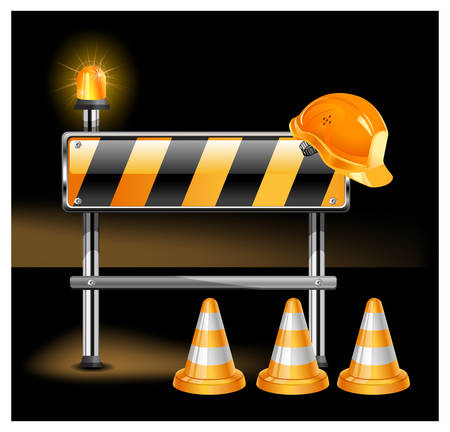 Road warning cone, sign for construction works and helmet isolated on black background  Stock Vector - 6495438