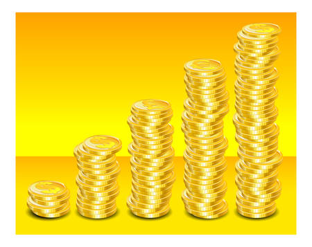 Steps of gold coins with money symbol on yellow background,  illustration Stock Vector - 6495440