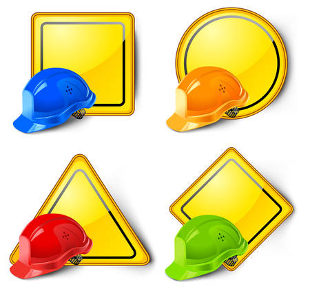 work safe: Road signs with helmets isolated on white background  Illustration