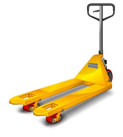 pallet: Camión de paletas de color amarillo sobre fondo blanco, ilustración