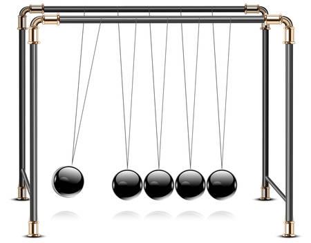 Pendulum, balancing balls Newtons cradle in action over  Vector