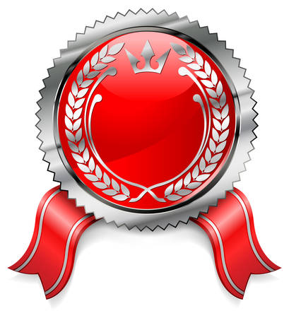 Red certificate with ribbon on white background, illustration Vector