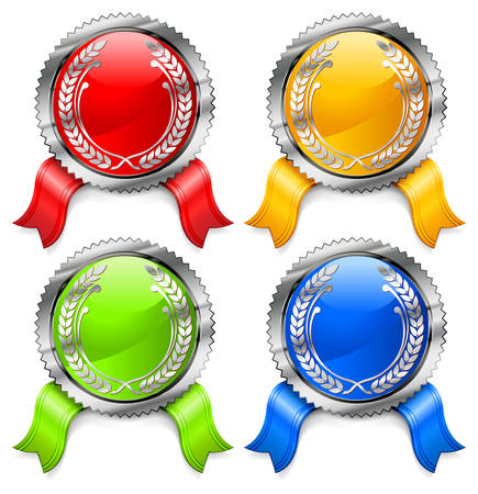 Round certificate with color ribbon on white background Vector