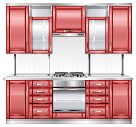 Modern kitchen interior in red color Vector