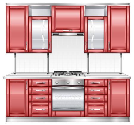 modern kitchen interior: Modern kitchen interior in red color Illustration