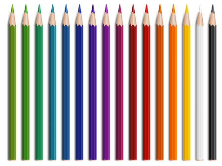 realism: Wooden pencils of different color for drawing