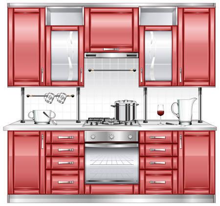 armarios: Interior de cocina con utensilios y cer�mica  Vectores