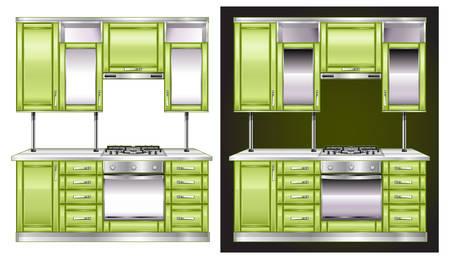 modern kitchen interior: Modern kitchen interior in green color Illustration