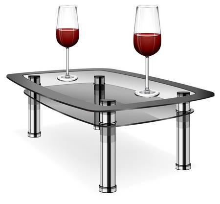 Verres de vins rouges sur table peu isolé sur fond blanc