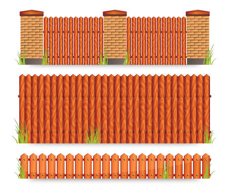 Set of brown wooden fences with grass, vector illustration Stock Vector - 7080361
