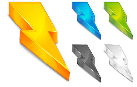 thunderbolt: Powerful lighting symbol in different color, vector illustration