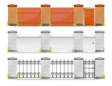 metal gate: Set of modern fences with gate and grass,  illustration Illustration