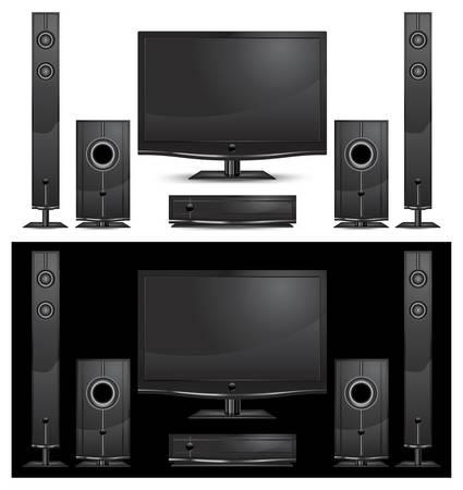 speaker system: interior de cine en casa moderna sobre fondo blanco, ilustraci�n  Vectores