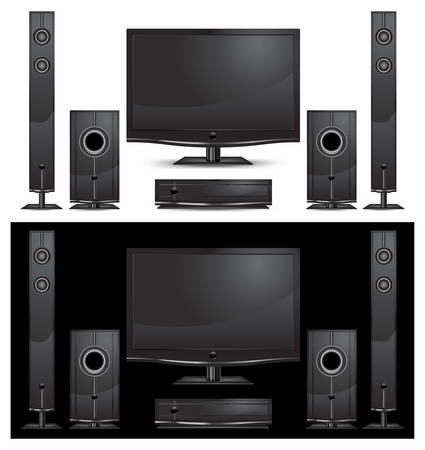 home theater: modern home theater interior on white background,  illustration