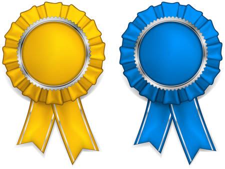 escarapelas: Premio rosetas de amarillos y azules con medallas y cintas