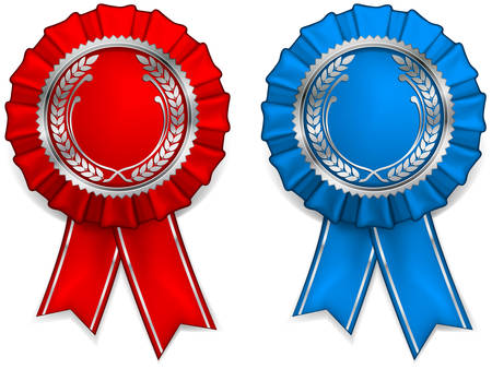Award red and blue rosettes with arms and ribbons Vector