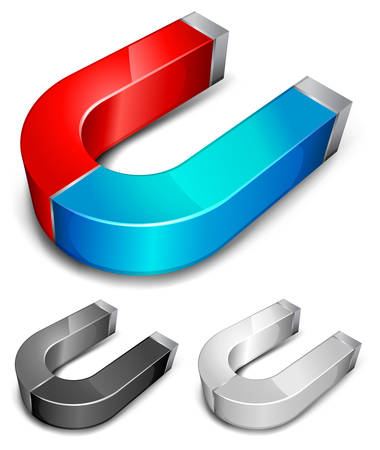 accumulate: Horseshoe color magnets over white background, illustration Illustration