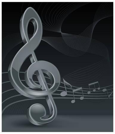 concerto: Clef de agudos gris con el personal de notas sobre negro, ilustraci�n vectorial  Vectores
