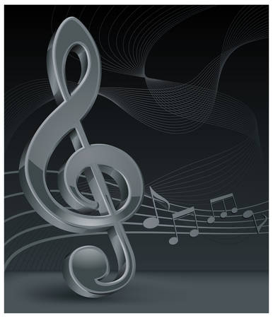 Grey treble clef with notes staff on black, vector illustration Stock Vector - 7170609