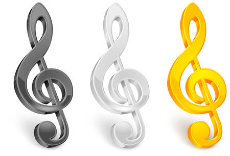 Color treble clef on white background Stock Vector - 7182370