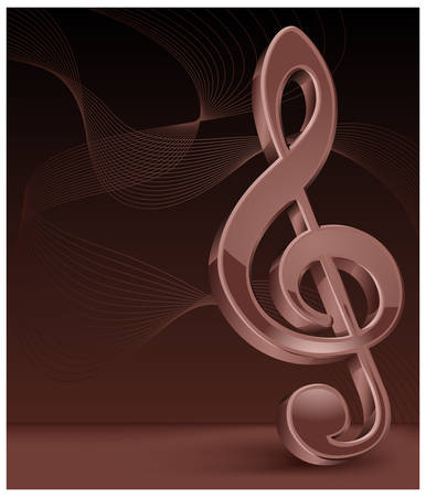 Brawn treble clef on perfect background. Stock Vector - 7229940