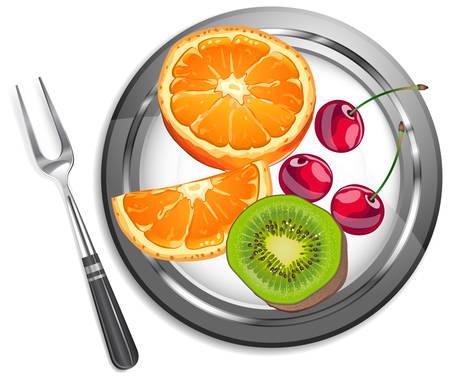 Fruit salade, oranje, kiwi, kersen op plaat met dessert vork.