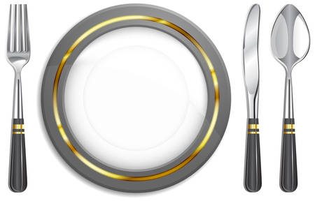 Tableware, white plate with fork, knife and spoon.