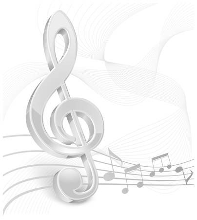 bass clef: White treble clef with notes staff on white. Illustration
