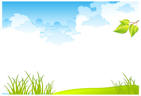 Green grass field and blue cloudy sky, vector illustration  Illustration
