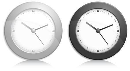 Office wall clock, metallic grey and black on white background Stock Vector - 7253957