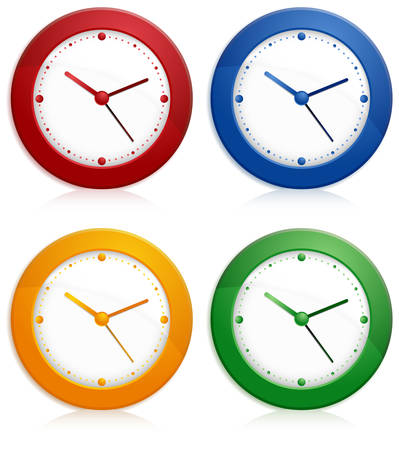 Office color wall clock on white background. Stock Vector - 7269626