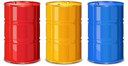 Drie kleur stalen vaten op witte achtergrond, vector illustratie