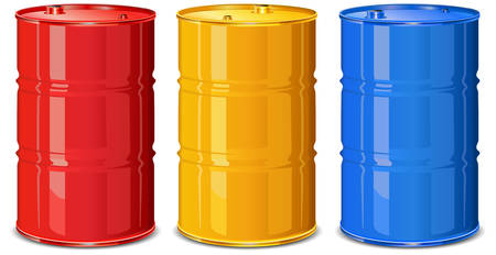 flammable warning: Three color steel barrels on white background, vector illustration