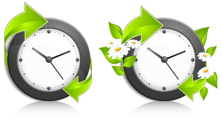 Business concept, office wall clock with green arrows and flowers, vector illustration   Stock Vector - 7375670